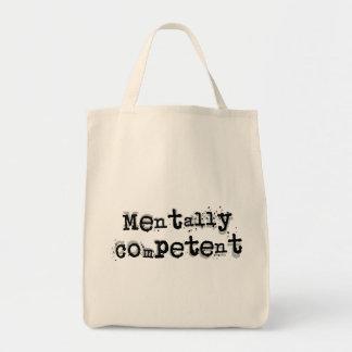 Mentalmente - competente… bolsa tela para la compra