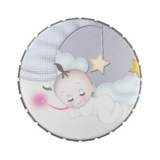 Mentas dulces de la ducha del bebé de la luna frascos de dulces