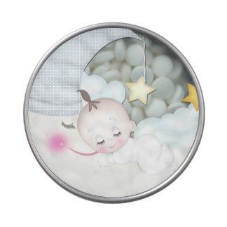 Mentas dulces de la ducha del bebé de la luna latas de caramelos