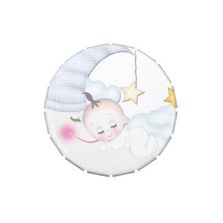 Mentas dulces de la ducha del bebé de la luna latas de dulces
