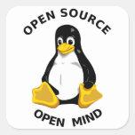 Mente abierta de Open Source Pegatina Cuadradas Personalizadas