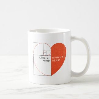 Mente atea, corazón del humanista taza básica blanca