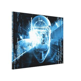 Mente brillante, arte digital, cura del ejemplo impresion en lona