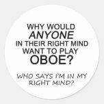 Mente correcta Oboe Pegatina Redonda