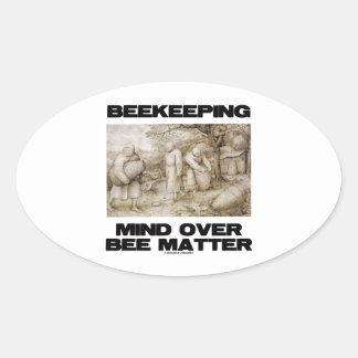 Mente de la apicultura sobre materia de la abeja calcomania óval personalizadas