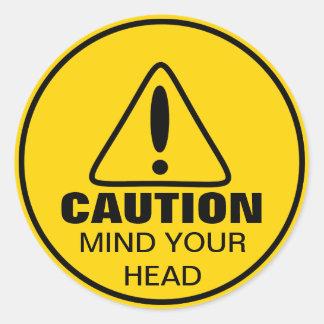 Mente de la muestra de la precaución su cabeza pegatinas