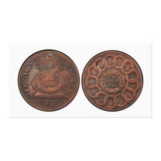 Mente del centavo de Fugio su frente y parte poste Impresión En Lona Estirada