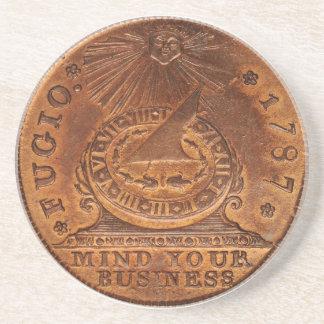 Mente del centavo de Fugio su penique del cobre de Posavasos Diseño