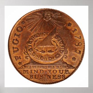 Mente del centavo de Fugio su penique del cobre de Poster