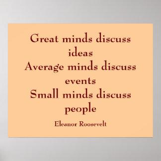 Mentes de la cita el | de Eleanor Roosevelt Póster