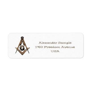 Mentes masónicas (de oro) etiqueta de remite
