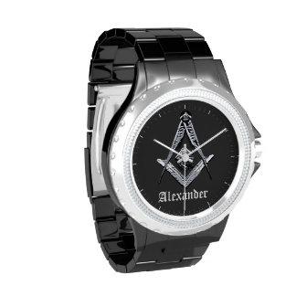 Mentes masónicas (plateadas) reloj de mano