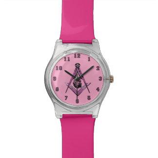 Mentes masónicas (rosa) relojes de pulsera
