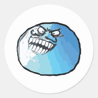 Mentí cara Meme de la rabia Pegatina Redonda