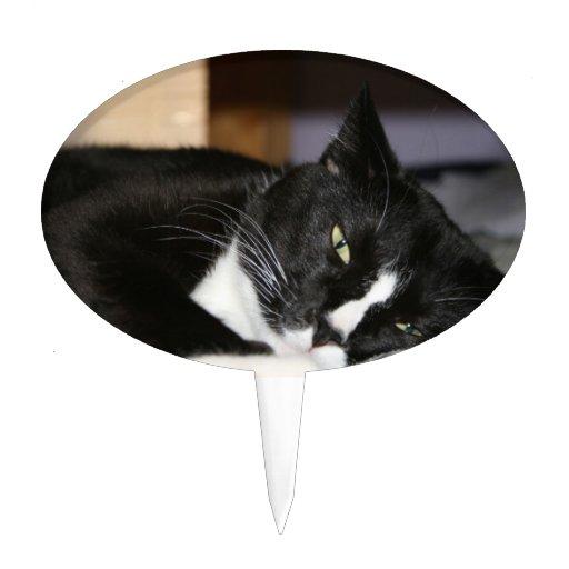 mentira blanco y negro del gato del smoking abajo  decoración de tarta