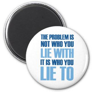 Mentira con mentira a imán redondo 5 cm