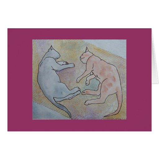 mentira dejada de los gatos el dormir tarjeta de felicitación