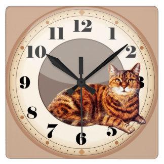 Mentira elegante del gato del reloj de pared