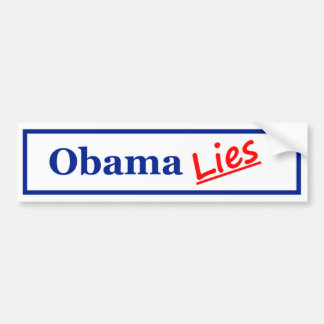 Mentiras 3 de Obama Etiqueta De Parachoque