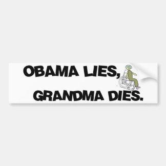 Mentiras de Obama, dados de la abuela Pegatina Para Auto