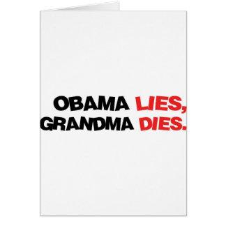 Mentiras de Obama, dados de la abuela Tarjeta De Felicitación