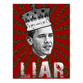 Mentiroso de Obama Tarjeta Postal