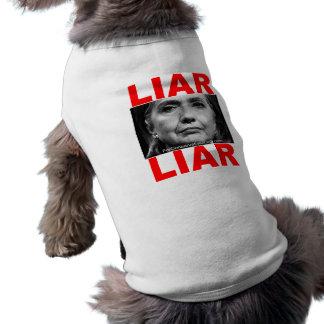 Mentiroso Hillary Clinton del mentiroso Playera Sin Mangas Para Perro