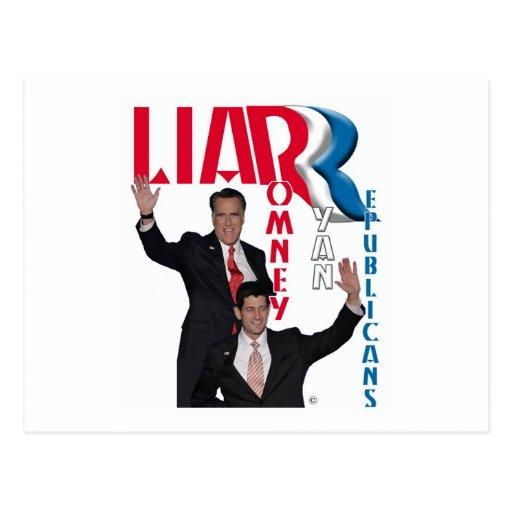 Mentiroso - Mitt Romney y Paul Ryan Postales