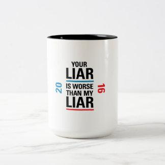Mentiroso/taza del mentiroso taza de café de dos colores