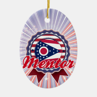 Mentor, OH Double-Sided Oval Ceramic Christmas Ornament