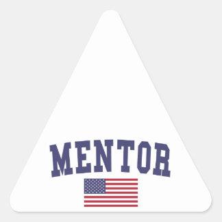 Mentor US Flag Triangle Sticker