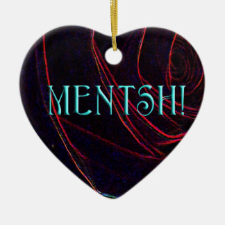 MENTSH-HEART ART Double-Sided HEART CERAMIC CHRISTMAS ORNAMENT