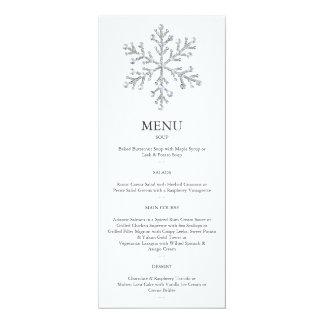 """Menú 2 del copo de nieve del invierno invitación 4"""" x 9.25"""""""
