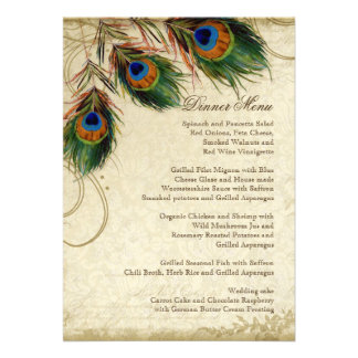 Menú a juego elegante del pavo real y de la cena d comunicado personalizado