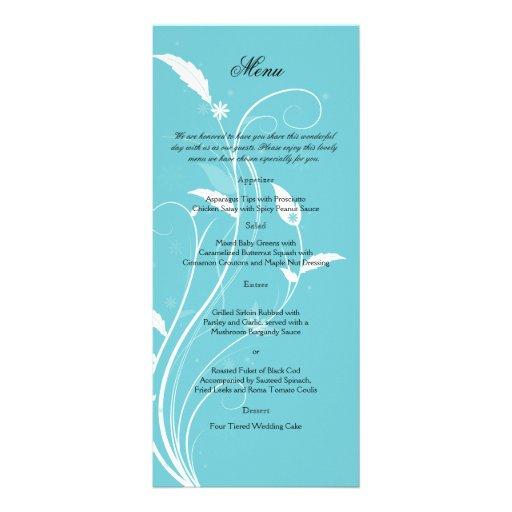 """Menú afiligranado floral azul del boda de la folleto publicitario 4"""" x 9"""""""
