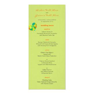 """Menú amarillo oscuro del boda de la primavera invitación 4"""" x 9.25"""""""