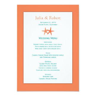 Menú anaranjado y azul del boda de los pares de comunicados personalizados