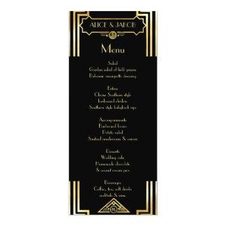 Menu Art Deco Gatsby Style, Art Deco Theme, 1920's 4x9.25 Paper Invitation Card