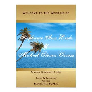 """Menú azul de la cena de boda del océano invitación 5"""" x 7"""""""