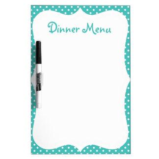 Menú azul de la cena del lunar tableros blancos