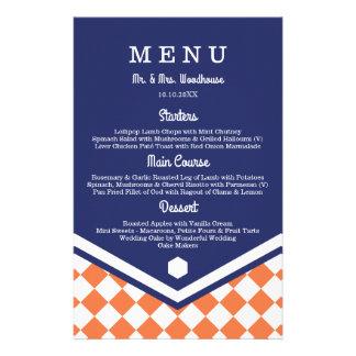 """Menú azul del boda con el modelo a cuadros folleto 5.5"""" x 8.5"""""""