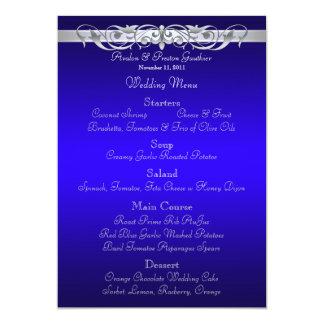 """Menú azul del boda de la grande duquesa voluta invitación 5"""" x 7"""""""
