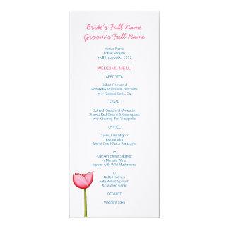 """Menú azul del boda de las flores simples invitación 4"""" x 9.25"""""""