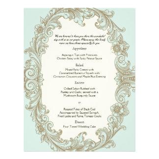 Menú azul del boda del marco del vintage de la tarjetones