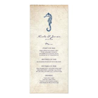 Menú azul del Seahorse del vintage del boda de Invitación 10,1 X 23,5 Cm