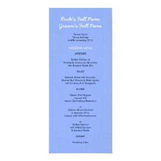 """Menú azul pintado del boda de los puntos invitación 4"""" x 9.25"""""""