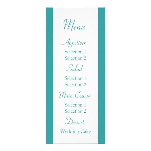 Menú azul y verde de la cena de la recepción nupci anuncio