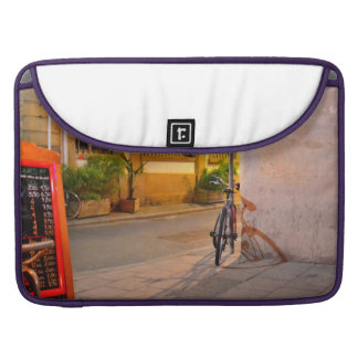 Menu, Bicycle, Shadow France outside a restaurant MacBook Pro Sleeve