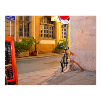 Menu, Bicycle, Shadow France outside a restaurant Postcard