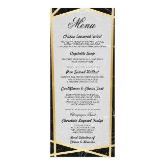 Menu Black Marble Gold Wedding Reception Cards
